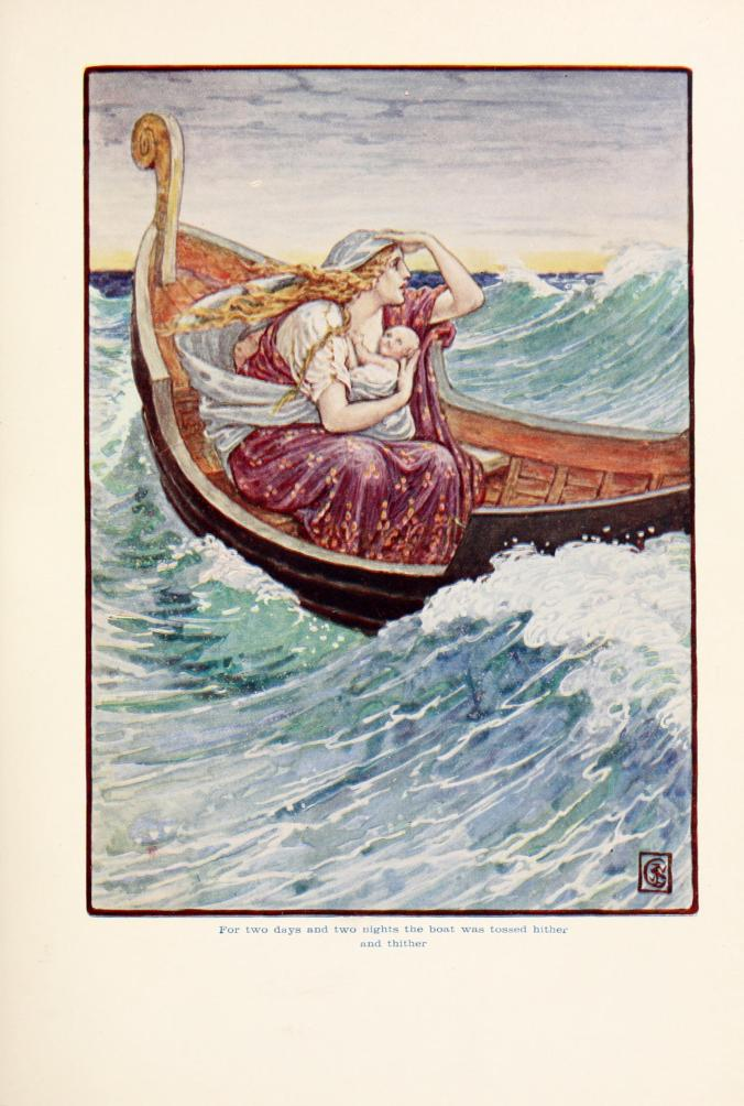 """For two days and two nights the boat was and hither and thither"" by Walter Crane - The story of Greece : told to boys and girls (191-?) by Macgregor, Mary. Licensed under Public Domain via Wikimedia Commons - http://commons.wikimedia.org/wiki/File:For_two_days_and_two_nights_the_boat_was_and_hither_and_thither.jpg#/media/File:For_two_days_and_two_nights_the_boat_was_and_hither_and_thither.jpg"